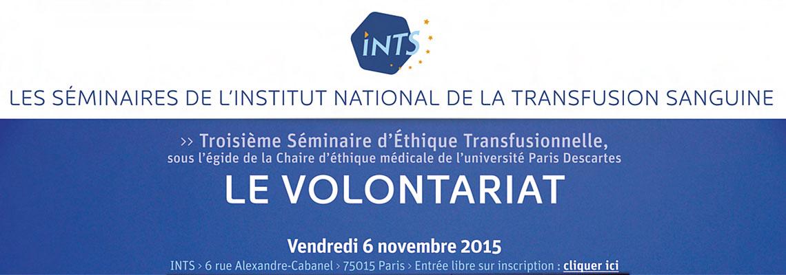 Le Volontariat - 3ième séminaire d'éthique transfusionnelle