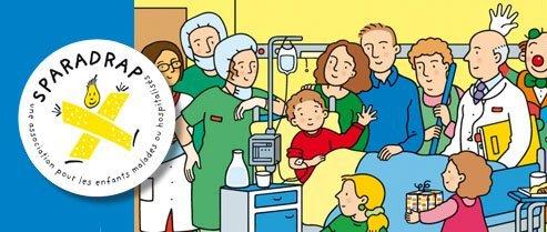 L'association SPARADRAP édite une fiche illustrée pour expliquer la transfusion sanguine aux enfants et à leurs parents.
