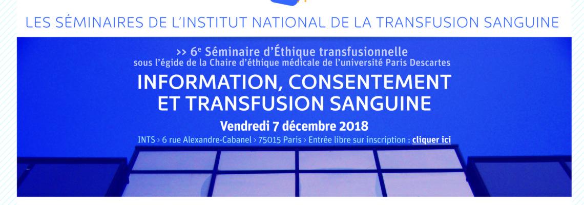 6ème séminaire d'éthique organisé par l'INTS : Information, consentement et transfusion sanguine
